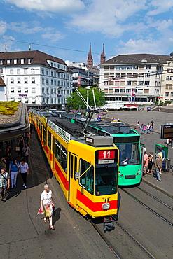 Barfusserplatz place tram station, Basel, Switzerland.