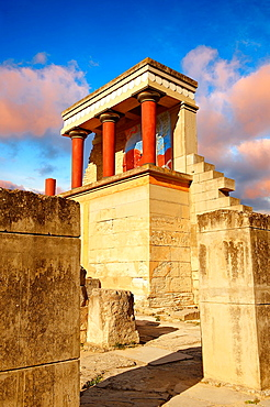Arthur Evans reconstruction of the Nouth Propylaeum Knossos Minoan archaeological site, Crete.