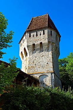 Defensive tower of Sighisoara Saxon fortified medieval citadel, Transylvania, Romania.