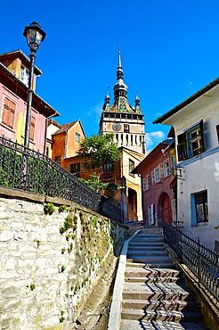 Medieval clock tower & gate of Sighisoara Saxon fortified medieval citadel, Transylvania, Romania.