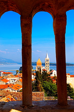 View fro St John Church tower over the medieval roof tops of Rab town. Rab Island, Craotia.