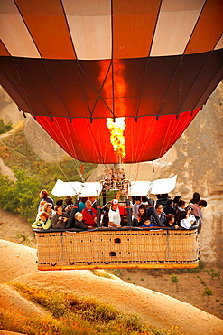 Close up of hot air baloon basket Cappadocia Turkey.