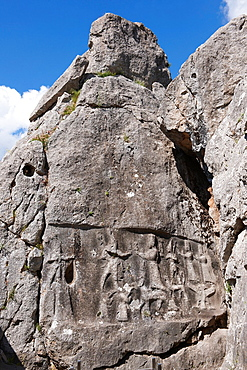 Picture of Yazilikaya [ i.e written riock ], Hattusa The largest known Hittite sanctuary. 13th century BC made in the reign of Tudhaliya 1V.1.