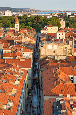 view from above on old town with shopping street, Zadar, Croatia.