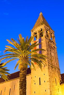 monastery St. Dominik with palms at night, Trogir, Croatia.