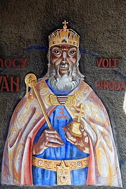 Hungary, Szeged, Heroes' Gate, fresco, St Istvan image,