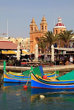 Malta, Marsaxlokk, fishing village, fishing boats, harbour.