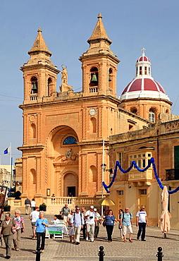 Malta, Marsaxlokk, church, people.