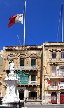 Malta, Vittoriosa, Birgu, Victory Square, St Lawrence statue.