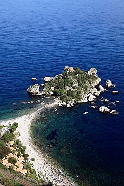 Italy, Sicily, Taormina, Isola Bella, beach.