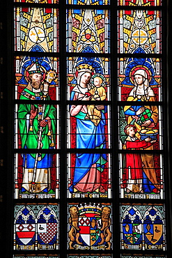 Belgium, Antwerp, Cathedral, stained glass window.