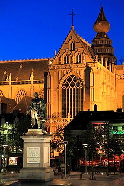 Belgium, Antwerp, Cathedral, Groenplaats, Rubens statue.