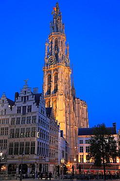 Belgium, Antwerp, Grote Markt, Cathedral.
