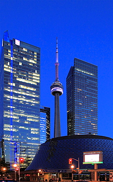 Canada, Ontario, Toronto, Roy Thomson Hall, CN Tower,.