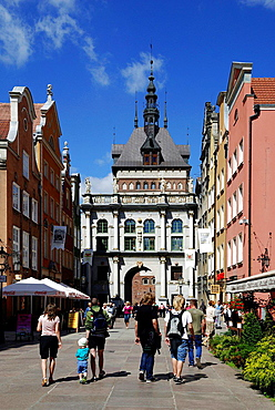 Historic Old Town of Gdansk with the Golden Gate in the Long Lane