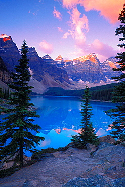 Dawn light on Moraine Lake and the Valley of the Ten Peaks (Canadian Rockies), Banff National Park, Alberta,, Canada.