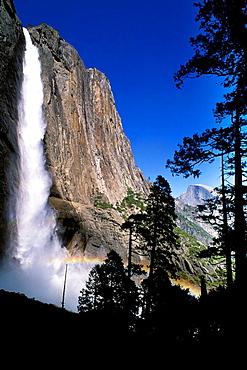 Upper Yosemite Falls and Half Dome, Yosemite Valley, Yosemite National Park, California USA.