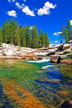 The Tuolumne River, Tuolumne Meadows area, Yosemite National Park, California USA.