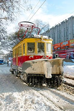 snow-removing tram, Odessa, Ukraine.