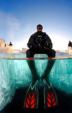 ice-diving, in lake Baikal, Siberia, Russia, island Olkhon. - 817-462529