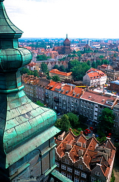 view at Gdansk in Poland from rooftop of church