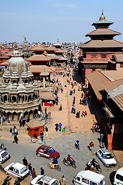 Patan Durbar Square during a winter morning, from above. Nepal, Kathmandu, Patan, Durbar Square.