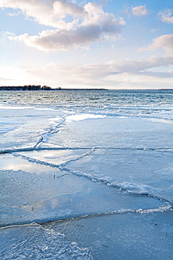 A partially frozen Lake Simcoe in Ontario, Canada.
