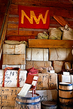 Goods stacked inside the North West Company Warehouse, Grand Portage National Monument, Grand Portage, Minnesota, United States of America.