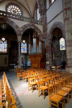 The Organ in the Church Saints Pierre et Paul in Obernai in the Alsace, France.