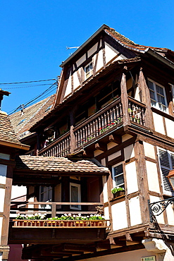 Typical half-timbered House in Obernai in the Alsace, France.