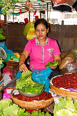 Vegetable Sales on a Market in Phnom Penh, Cambodia.
