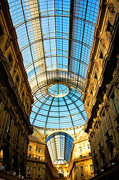 Glass dome of Galleria Vittorio Emanuele in Milan, Italy.