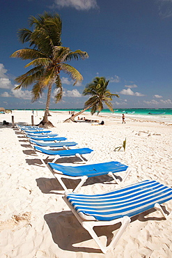 Sunbeds at Tulum public beach, Tulum, Quintana roo, Yucatan Province, Mexico.
