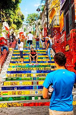 Escadaria Selaron stairs, Lapa district, Rio de Janeiro, Brazil