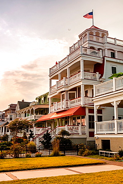 The Sea Mist a historic Victorian home which flies an American flag, it has been converted into a small hotel in Cape May, New Jersey.