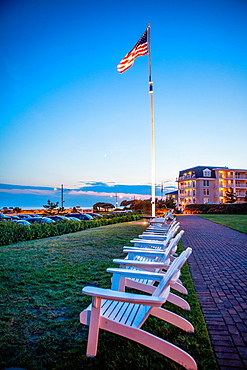 Deck chairs line up under an American Flag and overlooking the sea at the Congress Hall Hotel in Cape May. It was first constructed in 1816 as a wooden boarding house for guests in the city.