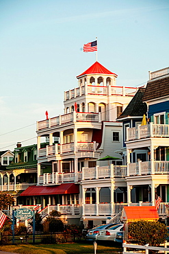 The Sea Mist a historic Victorian home flys an American flag, it has been converted into a small hotel in Cape May, New Jersey