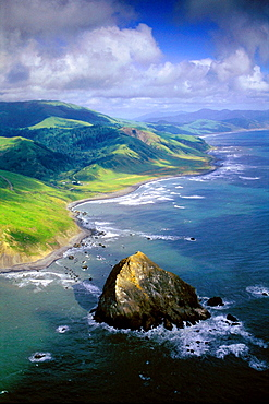 Aerial over Cape Mendocino, the most western point in the continental United States, Humboldt County, CALIFORNIA.