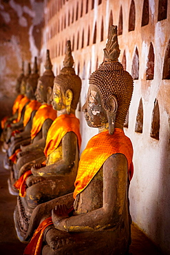 Buddhas at Sisaket Temple in Vientiane, Laos.