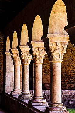 Columns and capitals, 12th Century cloister of Saint-Michel-de-Cuxa Benedictine Abbey, 879AD, Pyrenees-Orientales, France