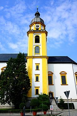 Yellow Clock Tower Kitzingen Germany Bavaria Deutschland DE Bavaria.