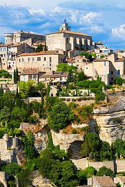 Overview of Gordes village, labeled The Most Beautiful Villages of France, Vaucluse department, Provence-Alpes-Cote d'Azur region. France.