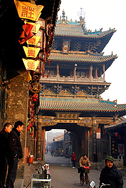 China, Shanxi, Pingyao, founded around the year 800 BC, listed as World Heritage by UNESCO, South Street called Ming and Qing street or Nandajie, Jinjing tower