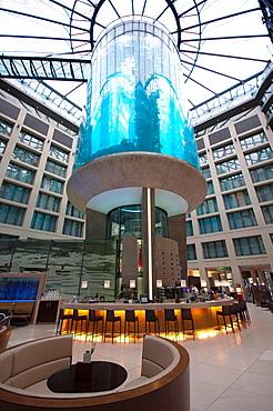 Germany, Berlin, Aquarium Tank Inside the Lobby of Radisson Hotel.