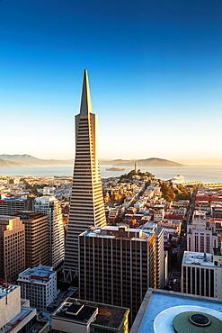 Transamerica Pyramid, Coit Tower and Alcatraz at sunrise, San Francisco, California, USA