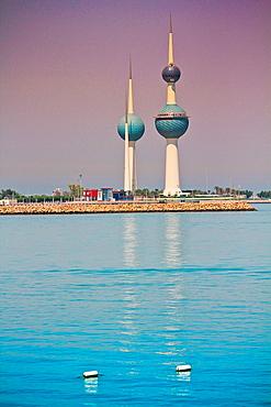 The Kuwait Towers at Arabian Gulf sea, Kuwait city