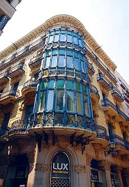 Facade of Magi Llorenç house. Lerida, Catalonia, Spain.