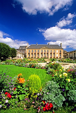 public garden and City hall of Mortagne-au-Perche, Regional Natural Park of Perche, Orne department, Lower Normandy region, France, Western Europe.