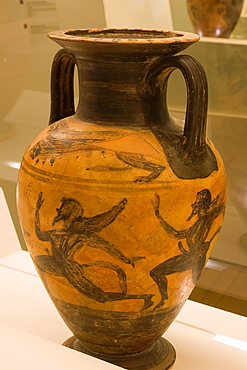 Europe, Italy, Tuscany, Siena, Santa Maria Della Scala, Exhibition Of Etruscan Art, Collection Of Pietro Bonci Casuccini, Amphora Representing Heracles Who Defends Hera From The Satyrs