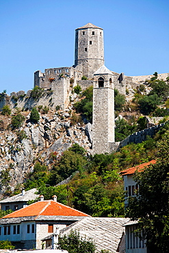 clock tower and gavrankapetan tower, pocitelj, ancient town, bosnia and herzegovina, europe.